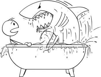 Cartoon stick man drawing conceptual illustration of man attacked by shark in his bathroom bath. Concept of security and unexpected danger.