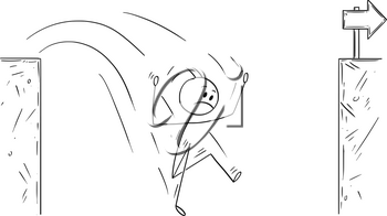 Cartoon stick man drawing conceptual illustration of unsuccessful businessman falling in to chasm.Business concept of challenge and fail.
