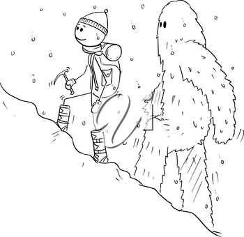 Cartoon stick figure drawing of mountain climber, mountaineer or alpinist walking with equipment uphill in snow followed by yeti or abominable snowman.