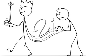 Vector cartoon stick figure drawing conceptual illustration of fantasy or medieval king walking with servant holding his robe.