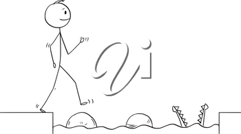 Cartoon stick figure drawing conceptual illustration of man or businessman stepping on big stones to get over water obstacle on his way to success ignoring danger.Business concept.