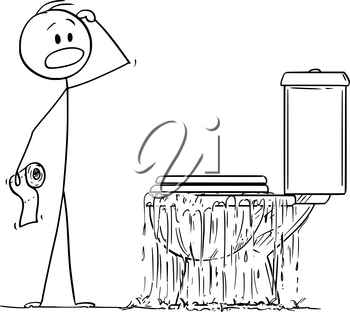 Vector cartoon stick figure drawing conceptual illustration of stressed man looking at overflowing toilet in bedroom and thinking what to do with the problem.