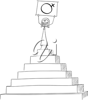 Vector cartoon stick figure drawing conceptual illustration of successful woman celebrating success on the peak of the pyramid with female gender or sex symbol in hands.