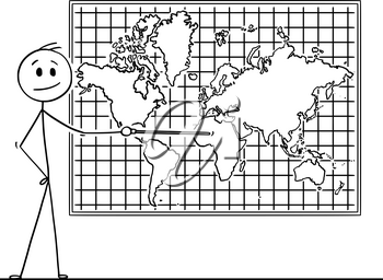 Cartoon stick drawing conceptual illustration of man using pointer and pointing at Africa continent on big wall world map.