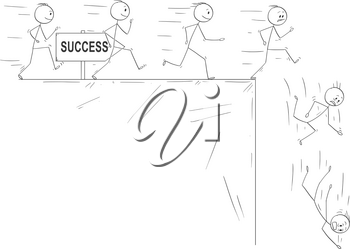 Cartoon stick drawing conceptual illustration of people following they dream of success and disillusion when they finally meet the reality. Metaphorical illustration of line of enthusiastic men running and finally falling down from the cliff.