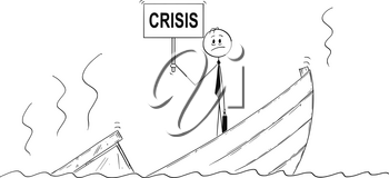 Cartoon stick drawing conceptual illustration of businessman, manager or politician standing depressed on sinking boat with crisis sign. Metaphor of failure and bad management.