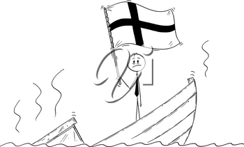 Cartoon stick drawing conceptual illustration of politician standing depressed on sinking boat waving the flag of Republic of Finland.