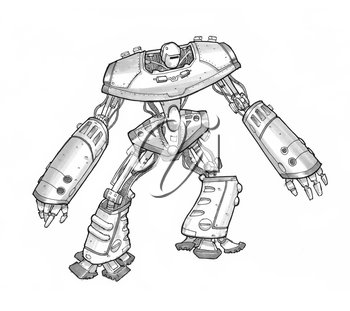 Black and white rough ink sketch of robot character.
