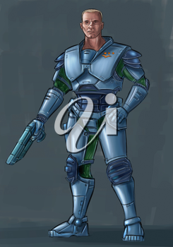 Concept art digital painting or illustration of science fiction futuristic military soldier character in armor holding pistol gun weapon.
