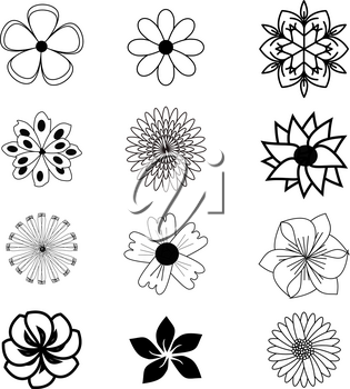 Set of flat flower icons in silhouette isolated on white. Simple designs in black and white. Can be used for gift wrapping paper, textiles, wallpaper.