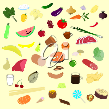 Background from natural fruits, vegetables, drinks, meat. EPS10