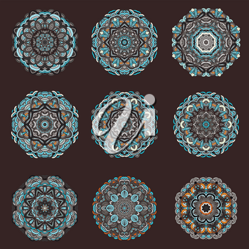 Mandalas collection. Round ornament pattern. Vintage decorative elements. Hand drawn background.