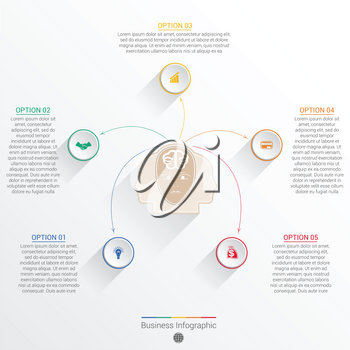 Element for template infographic business concept with five options, parts, or processes.