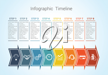 Template Timeline Infographic colored horizontal arrows numbered for eight position can be used for workflow, banner, diagram, web design, area chart