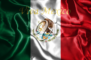 Mexican National Flag With Eagle Coat Of Arms and Text. Viva Mexico,  meaning Live Mexico 3D Rendering