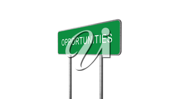Opportunities Green Road Sign Isolated On White Background. Business Concept 3D Rendering