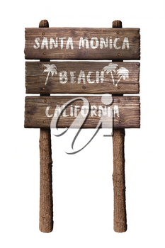 Santa Monica Beach California Wooden Board Sign Isolated On White Background