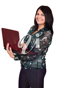 beautiful happy girl with laptop