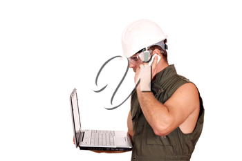 oil worker with laptop and phone on white