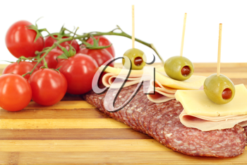 salami cheese olives and tomatoes