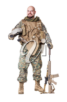 Elite member marksman of United States Marine Corps with rifle weapons in uniforms. Military equipment, army helmet, combat boots, tactical gloves. Isolated on white, weapons, army, patriotism concept