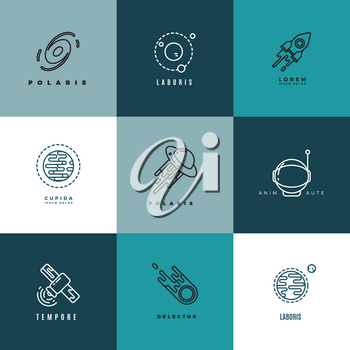 Universe and astronomy thin line vector icons and logos set. Shuttle and astronomy label, technology astronomy logo, sputnik astronomy logotype illustration