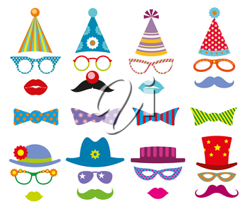 Birthday party photo booth props vector set. Party decoration for photo booth, birthday mask photo booth, costume for masquerade photo booth illustration