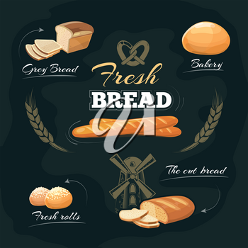 Chalkboard bakery cafe menu. Drawing bread or baguette, label and emblem for bakery with bread. Vector illustration template