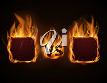 Versus screen with fire frames and vs letters. Flaming VS screen for duel and confrontation. Vector illustration