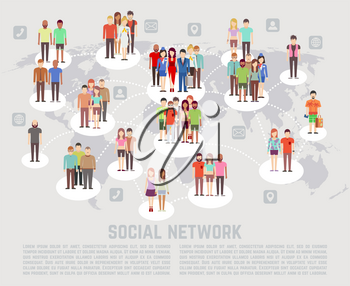 Social network concept with flat characters of people. Communication people social network and connection web network social illustration