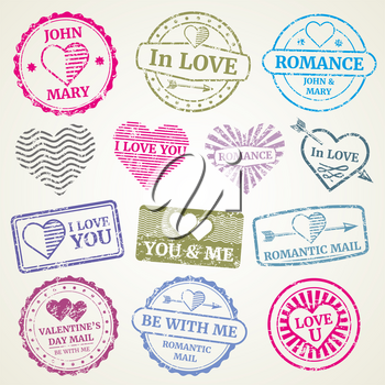 Romantic postage stamp vector set for wedding and Valentines Day post card, invitation design. Stamp in form heart and stamp for postcard illustration