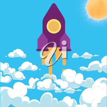 Rocket and white clouds cartoon vector. Startup success above clouds concept