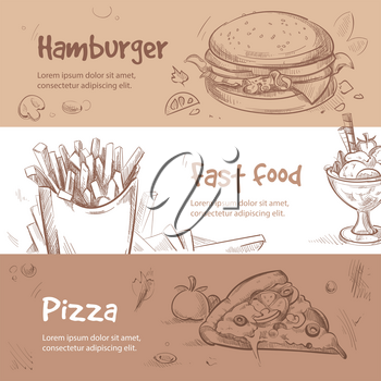Vector banners of fast food design in hand drawn style. Bannner fast food and pizza for menu, illustration breakfast fast food