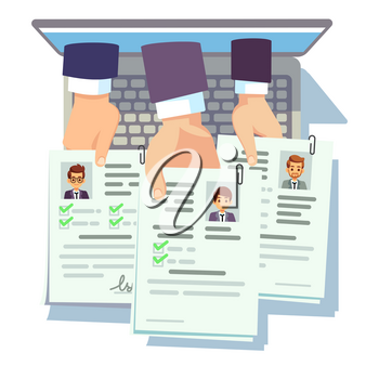 Job competition. Candidates hold cv resume. Online male cv application. Vector recruitment and employment, human interview illustration