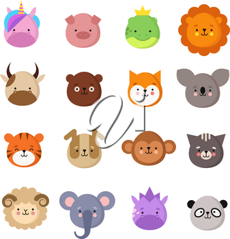 Cute animals faces. Dog and cat, cow and fox, unicorn and panda. Animal kid emoji. Kawaii zoo vector collection of sheep and monkey, cat and tiger, koala and bear illustration