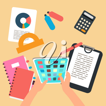 Top view studying or working vector concept. Procrastination with app game flat illustration