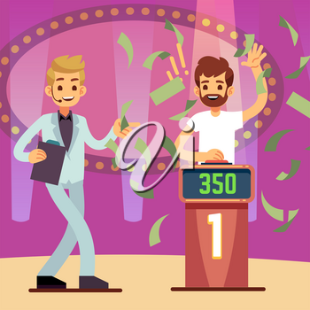 Young happy quiz game winner in the money rain vector illustration. Television show quest, entertainment lucky