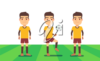 Three soccer players on green field vector illustration. Football team play match
