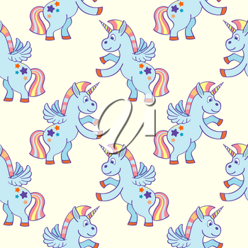 Pastel colored hand drawn unicorns seamless pattern. Background fantasy sketch illustration