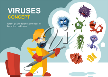 Anti germs, microbes vector sanitation concept. Sanitation and cleaner washing, illustration of prevention from infection and microbes