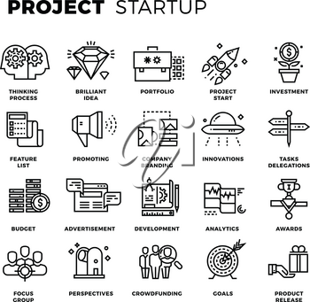 Startup, launch business, workflow, new product start up, research thin line vector icons. Project management and set of linear icons project stratup illustration