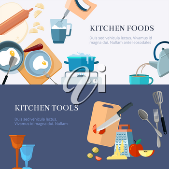 Kitchen utensils, cooking, home made food, kitchenware vector banners set. Kitchen tools and food illustration