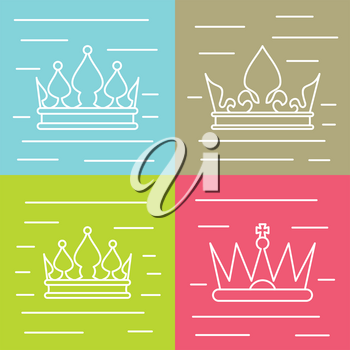 White line crown icons on color background. Linear crown for queen, vector illustration