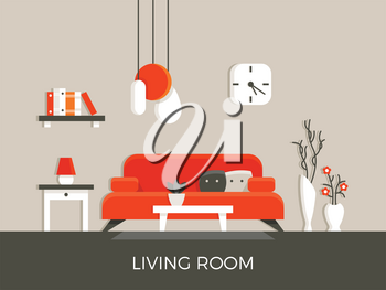 Modern home living room interior with furniture vector illustration. Lamp and sofa in apartment house