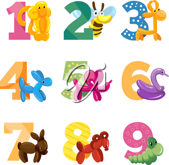 Birthday anniversary cartoon numbers with cute balloon animals for birthday baby party, vector template for invitation cards. Balloon animals with to birthday anniversary illustration