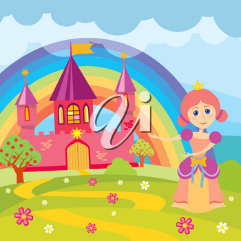 Cartoon princess and fairytale castle with landscape vector illustration. Fairytale kingdom with architecture drawing medieval castle