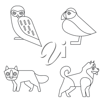 Polar animals in line style on white background. Wild animals owl and the fox. Vector illustration