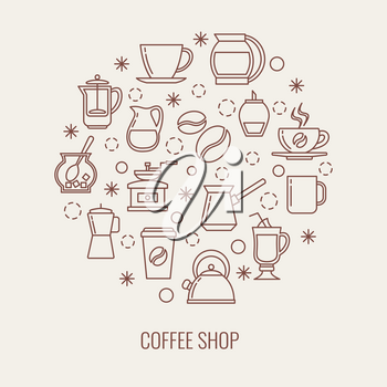 Coffee thin line vector icons set in a circle. Illustration of drink coffee concept