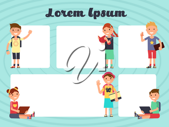 Fun frames kids layout. Vector texting brochure backgrounds with cartoon children. Cartoon cheerful kids with template of poster or brochure illustration