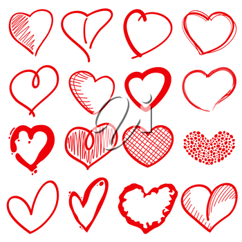 Hand drawn heart shapes, romance love doodle vector signs for holiday decor. Red sketch hearts, illustration of decoration love heart